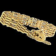 Vintage Victorian Revival 9K Gold 5-Bar Gate Link BRACELET Heart Padlock Clasp