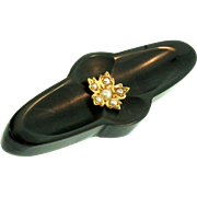 Antique Victorian 15K Gold and Seed Pearl Flower Whitby Jet Mourning Pin Brooch