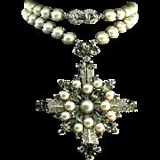 Vintage TRIFARI Fx Pearl Black Diamond Rhinestone Combo Necklace Pendant Brooch Pin