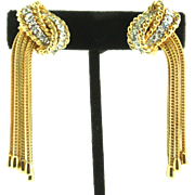 Vintage BOUCHER Multi-Chain Rhinestone Gold-plated Soft Touch Clip Dangle EARRINGS