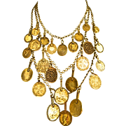 Vintage 1970s Runway Couture YVES SAINT LAURENT YSL Gypsy Coin Necklace Vogue Mag