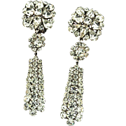 Vintage 1964 CHRISTIAN DIOR Germany Crystal Rhinestone Dangle Clip Earrings