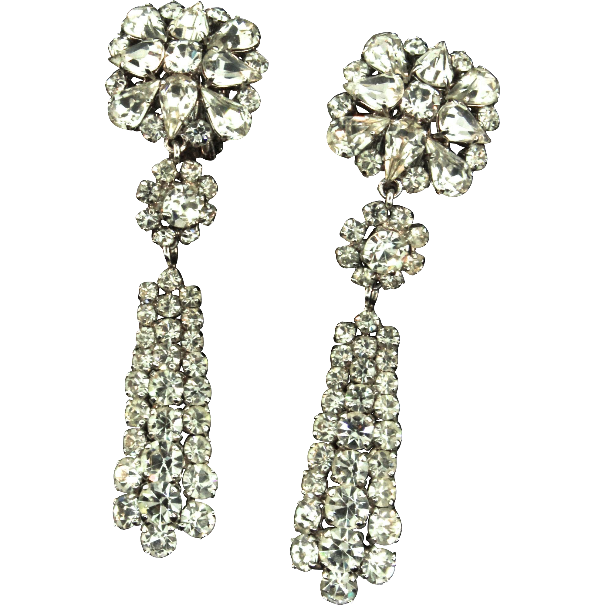 Vintage 1964 Christian Dior Germany Crystal Rhinestone Dangle Clip Earrings