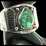 Vintage Huge Native American NAVAJO Turquoise Sterling Bracelet Cuff115g 2.25 Inch Wide
