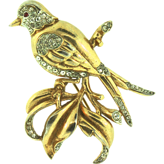 Vintage Philippe TRIFARI Swallow Bird On A Branch Rhinestone Large Brooch Pin