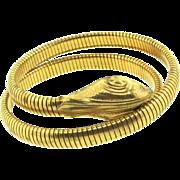 Vintage FORSTNER Art Deco Coiled Gold Filled SNAKE Bracelet