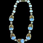 Stunning Vintage Art Deco CZECH Cobalt Blue Glass Bead Tulip Brass Caps NECKLACE