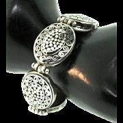 Vintage Chunky Designer AF Sterling Silver Dot Swirl Oval Link BRACELET