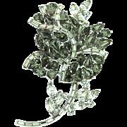 Vintage 1951 Philippe TRIFARI Huge Black Diamond Rhinestone ROSE Figural Brooch Pin