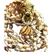 Vintage 14K 585 Gold Diamond Sapphire Ruby LION Clasp Multi-Strand Pearl NECKLACE