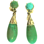 Antique 14K Yellow Gold and Untreated Persian Turquoise Drop Screwback EARRINGS