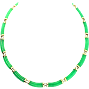 Vintage CHINESE 14K Yellow Gold Apple Green Jadeite Jade Panel NECKLACE