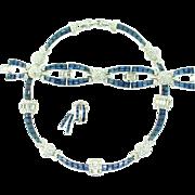 Vintage BOUCHER Deco Style Pom Pom Sapphire Rhinestone Necklace Bracelet Earrings SET
