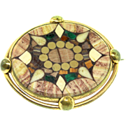 Antique Victorian Carlsbad PIETRA DURA Inlaid Stone Mosaic Brooch Pin