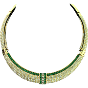 Vintage CHRISTIAN DIOR Deco Pave Emerald Rhinestone Hinged Choker Collar Necklace