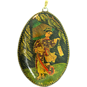 Vintage Large Signed 1970s Japanese Geisha Hand-Painted Gold Oval Necklace Pendant