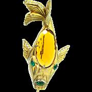 Vintage Huge EISENBERG ORIGINAL Topaz Glass Belly Rhinestone Fish Figural Brooch Pin