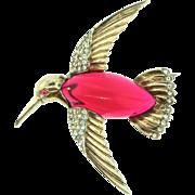 Vintage TRIFARI Jelly Belly Rhinestone Sterling HUMMINGBIRD Figural Brooch Pin Book Piece