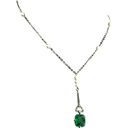 Vintage ART DECO French Sterling Flawed Emerald Glass Paste Pearl NECKLACE
