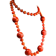 Vintage Estate CARNELIAN Natural Stone Bead Heavy Hand-Knotted NECKLACE