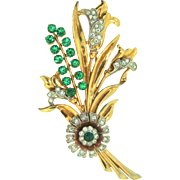 Vintage Large 1940s CORO Floral Flower Rhinestone Bouquet Spray Figural Brooch Pin