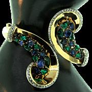 Vintage TRIFARI Emerald Sapphire Rhinestone SYMPHONY Scroll Bypass Hinged BRACELET