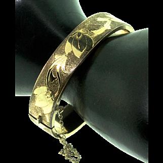 Vintage Victorian GF Floral & Greek Key Etched Hinged Bangle BraceletSMALL or CHILD