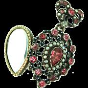 Antique Georgian Hungarian Pink Tourmaline Pearl Sterling Vinaigrette Locket Pendant