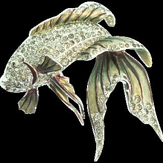 Vtg 1941 BOUCHER Rhinestone Metallic Enamel Beta Fish Figural Brooch Pin Signed