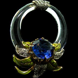 Vintage DEROSA Art Deco Glass Ring Floral Enamel Rhinestone Fur Pin Clip Brooch