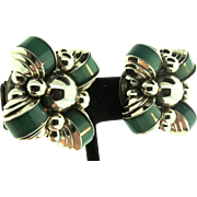 Vintage Art Deco JAKOB BENGEL Chunky Modernist Chrome & Green Galalith Clip Earrings