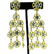 Vintage Huge Runway Gold-Plated Rhinestone Flower Dangle Clip Earrings