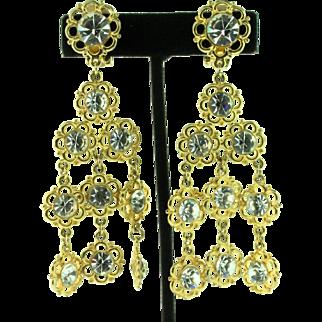 Vintage Huge Runway Gold-Plated Rhinestone Flower Dangle Clip Earrings