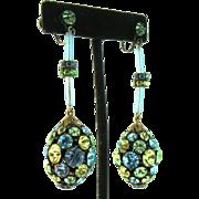 Vintage High-End Runway Large Rhinestone Egg Rhondelle Dangle Screwback Earrings