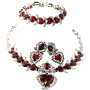 Vtg CHRISTIAN DIOR by KRAMER Ruby Red Heart Rhinestone Necklace Bracelet Earrings PARURE Set