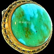 Vintage Art Deco CZECH Emerald Green Turquoise Glass Cabochon Brass Pin Brooch