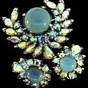 Vtg JOMAZ Mazer Moonstone Cab Aurora Borealis Rhinestone Brooch Pin Earrings Set
