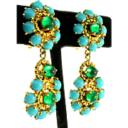 Vintage 1965 CHRISTIAN DIOR Gripoix Turquoise Emerald Glass Cabochon Dangle EARRINGS