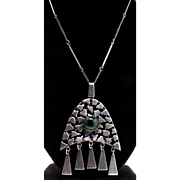 Vintage Mid Century Modernist Sterling African Jade Pendant Bar Link Chain NECKLACE