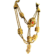 Vintage Rare Huge KJL Kenneth Jay Lane by D&E Ornate Rams Head Chain BELT NECKLACE