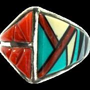 Vintage SADIE CALVIN Native American NAVAJO Turquoise Coral Onyx MOP Sterling RING Sz 6