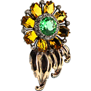 Vintage REJA Sterling Vermeil Rhinestone SUNFLOWER Figural Pin Clip Brooch 38g