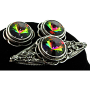 Vintage WHITING & DAVIS Glass Rivoli Rhodium Plated Brooch Pin Earrings SET