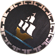 Vintage Taxco Mexican CECILIA TONO Sailboat Sterling Silver Piedra Negra Pin Pendant