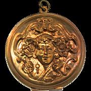 Vintage Large ART NOUVEAU Woman Siren Brass? Compact Locket Pendant