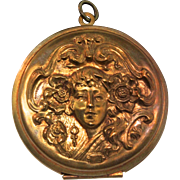 Vintage Large ART NOUVEAU Woman Siren Brass? Compact Locket Pendant