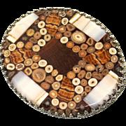 Antique Victorian Carlsbad PIETRA DURA Inlaid Stone Sterling Mosaic Brooch Pin