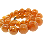 Vintage Amber BAKELITE Graduated Bead NECKLACE With Paste Silver Clasp