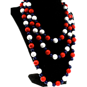 Vintage Extra Long 60 Inch Nautical Patriotic Red White & Blue Lucite Bead NECKLACE