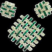 Vintage 1953 BOUCHER Emerald Green Crystal Rhinestone Weave Brooch Pin Earrings SET